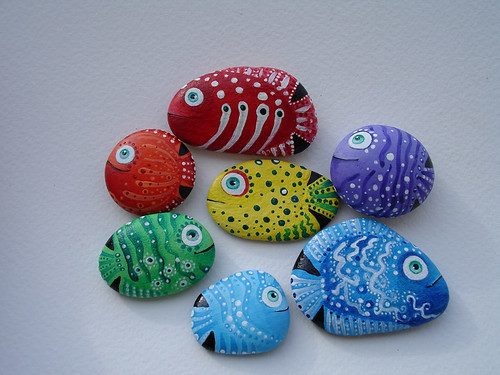 Hand painted sea stones.