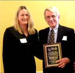 Mock Trial Chair Christine Wright, Esq., with Randall Cook, 2010 Teacher of the Year in Law-Related Education