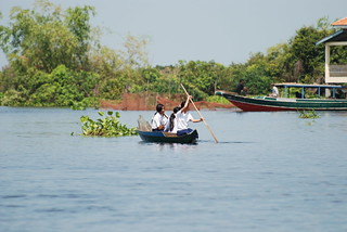 Doing the school run in one of the floating villages along the Sangker River, Cambodia