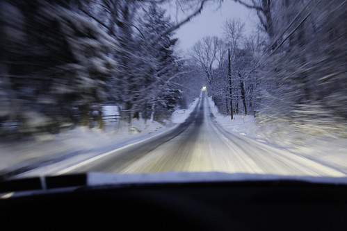 winter driving in motion