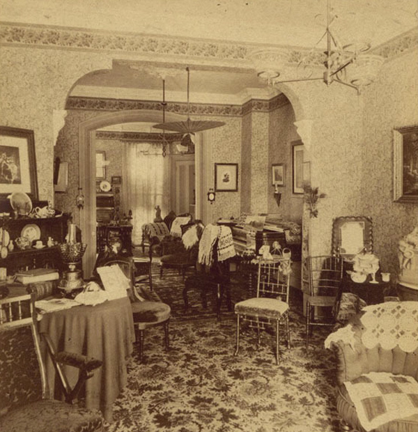 Interior Of A Luxurious Victorian Drawing Room Looking Towards A Bedroom Victoriana
