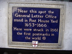 Photo of first postmarks in the world and General Letter Office blue plaque