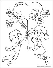 Kids with Heart Balloon - Coloring Page