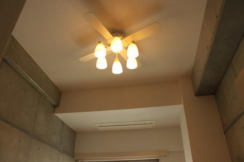 天井にはプロペラファン設置。
