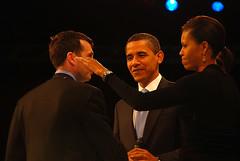 David Plouffe, Barack Obama and Michelle Obama at the Obama Staff Ball