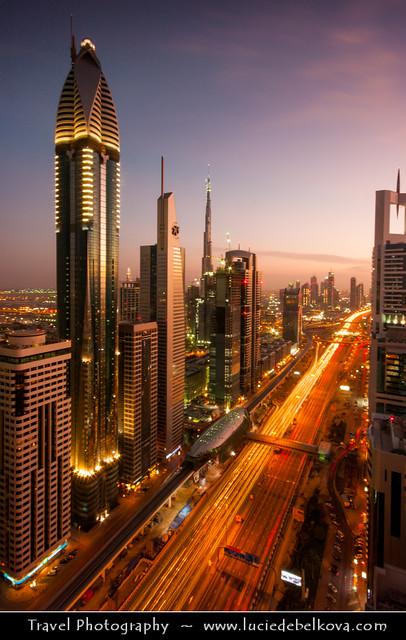 United Arab Emirates - Dubai - Sheikh Zayed Road at Dusk - Twilight - Blue Hour