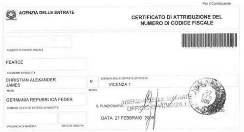 Certificato di attribuzione del numero di codice fiscale for Numero di politici in italia