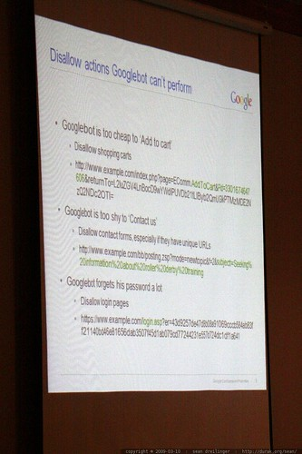 slide: disallow actions googlebot can't perform   on site insight! technical seo advice from the pros   sempdx searchfest 2009    MG 9370