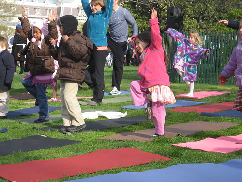 Kids learning yoga - tree pose