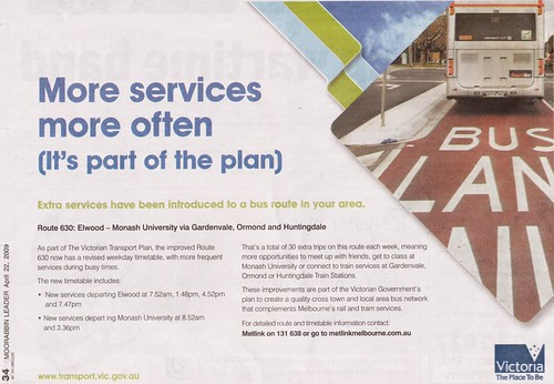 Advert for a measly 6 extra services on bus route 630