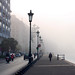 The misty edge of the Aegean Port of Thessaloniki, Greece