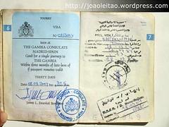 Visto da Mauritânia ao lado do visto para a Gâmbia do passaporte