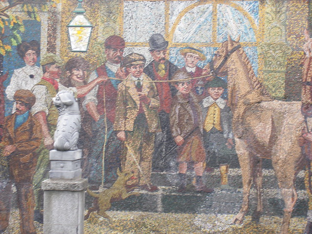 Holloway circus mural depicting events in horse fair for Concerts at the mural