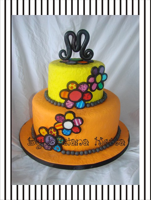 Bolo Flores Coloridas 2 (Funky Colorful Flowers Cake #2) | Flickr ...