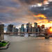 Sunset over the Brooklyn Bridge and Lower Manhattan, New York City by andrew c mace