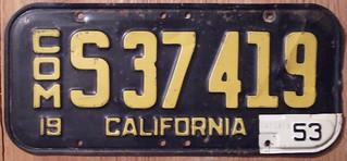 CALIFORNIA 1953 LICENSE PLATE
