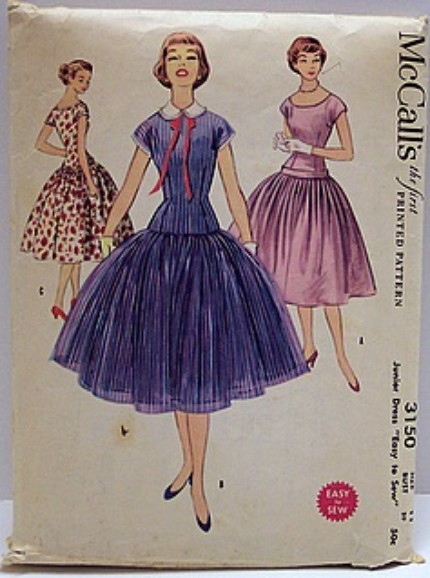 Vintage McCalls Pattern 3150 Fitted Bodice Dropped Waist Full Skirt 50s Rockabilly Dress
