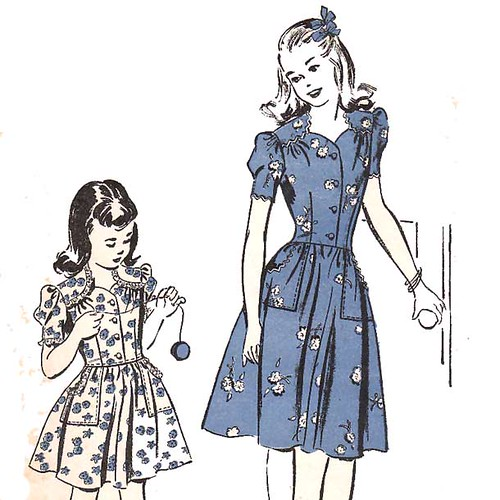 Vintage 1940's Girl's Sweetheart Neckline Dress Sewing Pattern