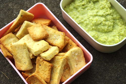 Buttermilk Crackers and Edamame Hummus