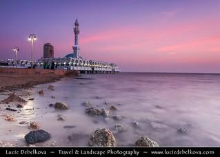 Saudi Arabia - Jeddah - Jiddah - Jidda - Jedda - Pink Sunset at Floating Mosque on shores of Red Sea