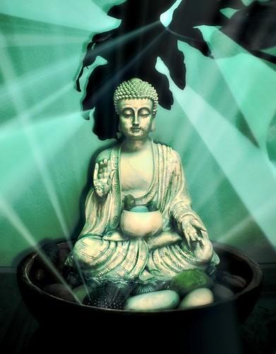 Luminous Green Healing Buddha by Wonderlane