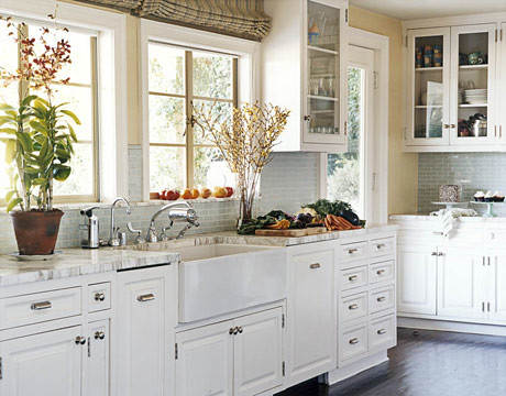 The perfect white kitchen white cabinets painted floor for Kitchen cabinets white