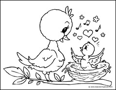 Chick and Mother Bird - Coloring Page