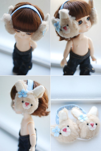 Latidoll yellow animal earmuffs - mocha bunny