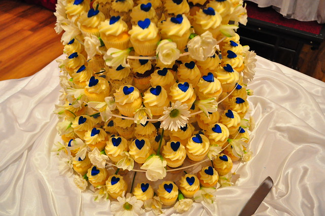 Royal blue and white mini wedding cupcake tower A mix of mini choc vanilla