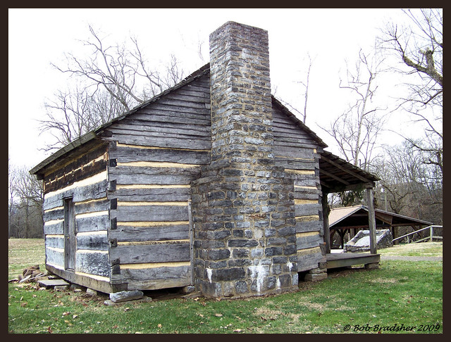 Side View Of Davy Crockett Cabin Limestone Tn Log