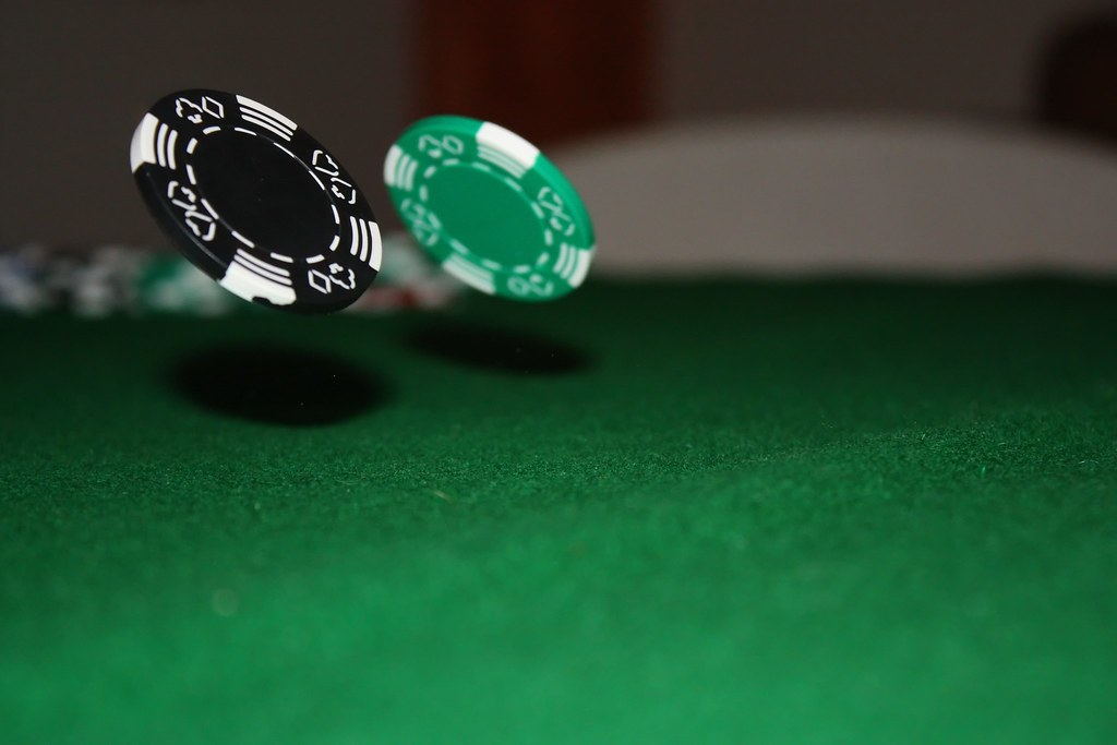 Floating Chips Bouncing Poker Chips Off The Table With A