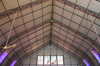 Trusses, iron framework, pre-fabricated building, Iglesia Santa Barbara de Santa Rosalia, Designed by Gustave Eiffel, Mexican Metal Gothic Church, San Rosalia, Baja California Sur, Mexico, dedicated 1887