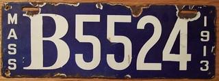 MASSACHUSETTS 1913 LICENSE PLATE, TRUCK