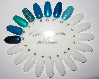Aqua & Turquoise Nail Polish (flash)