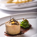 duck torchon, merlot and fig jam with black Italian truffle, marinated peach