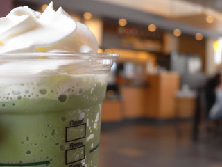 Powdered green tea frappuccino