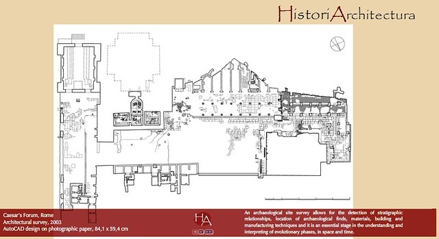 1. ROME - THE IMPERIAL FORA: FORUM OF CAESAR - ARCH. BARBARA BALDRATI: CAESAR'S FORUM - ARCHITECTURAL SURVEY / AutoCAD design (2003).