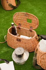 wicker, green, basket, lawn, picnic,