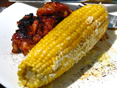 BBQ chicken and corn on the cob