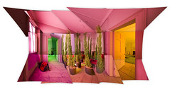 Fir / Conifer Tree Room 180° Composite Panorama - Brian Eno Speaker Flowers Sound Installation at Marlborough House
