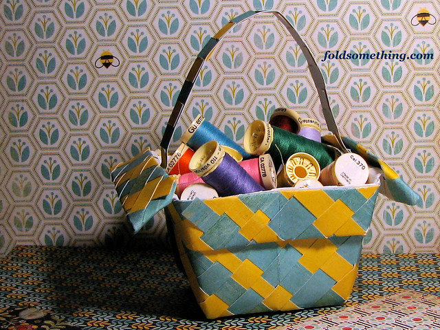 Paper weaving into a basket