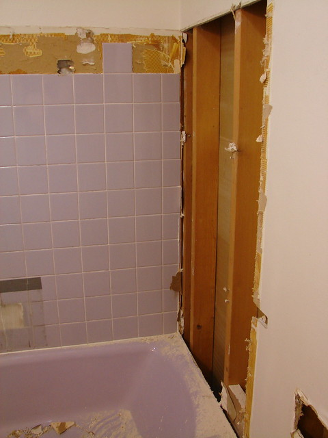 Remodel day 1 saying goodbye to the old lavender for Bathroom remodel 1 day
