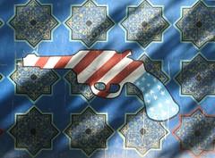Embassy mural with gun