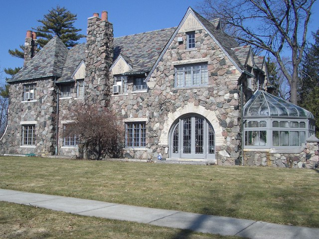 The magnificent Hamady stone home in the College Cultural area near Downtown Flint Michigan