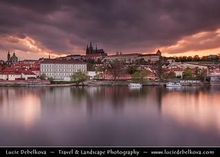 Czech Republic - Dramatic Stormy Sunset over Prague Castle