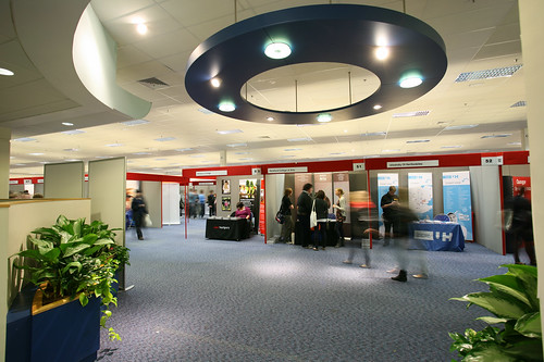 Meet and greet friends and colleagues in the light and airy conference hub.