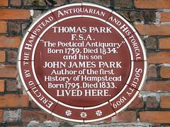 Photo of Thomas Park and John James Park brown plaque