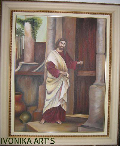 Jesus bate porta leo sobre tela 50x70 fiz em 2005 for Jesus a porta