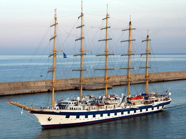 The Royal Clipper enters Civitavecchia (Rome) Harbor