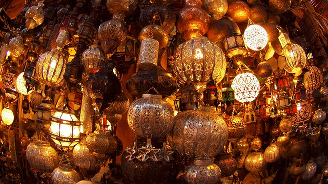 Traditional lamps are sold in the souks of Marrakech, in Morocco (@torrenegra).